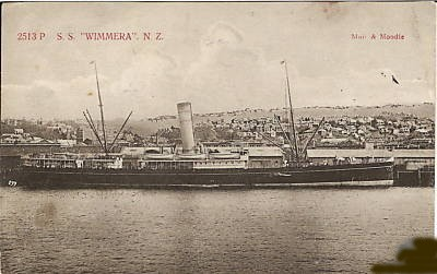 Ted invalided back to Britain on this New Zealand hospital ship which was sunk in 1918. Sinking-departed Auckland for Sydney with seventy-six passengers, hit a mine laid by the German raider Wolf, off Cape Farewell, New Zealand, 26 June 1918.