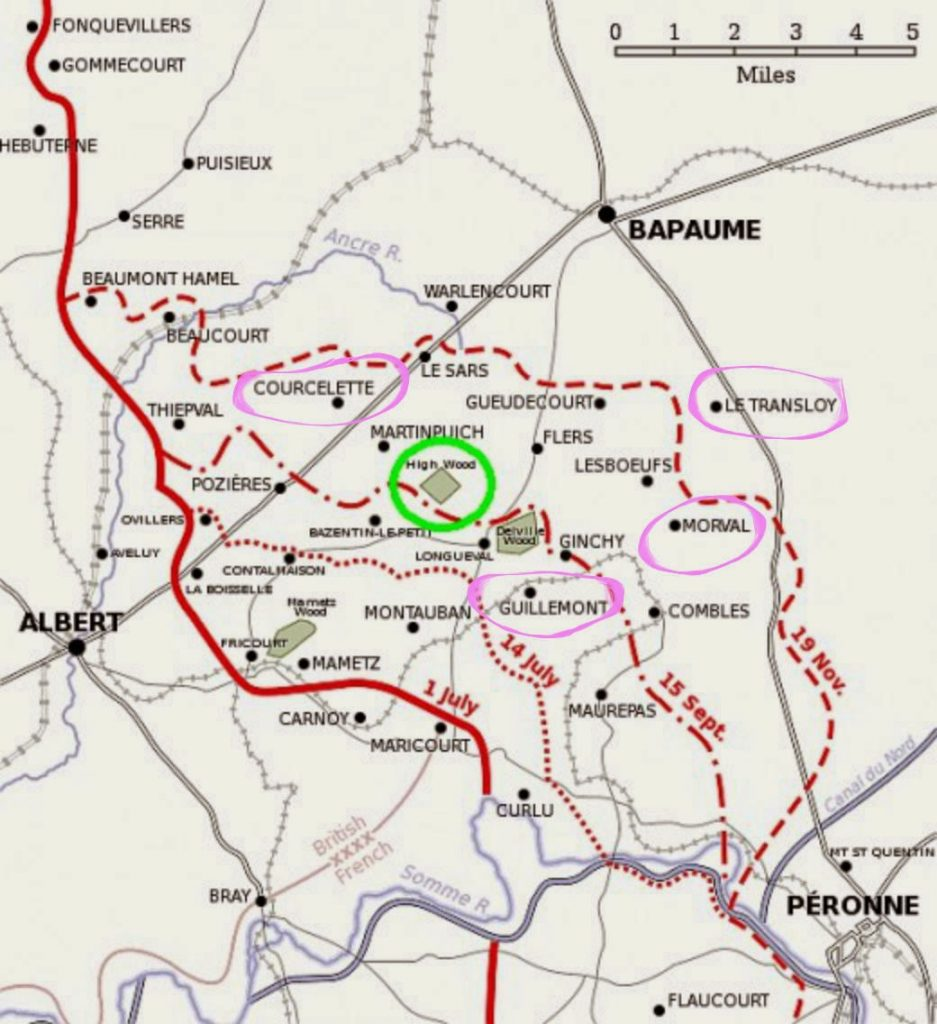 The map of the Somme showing the battles John fought in