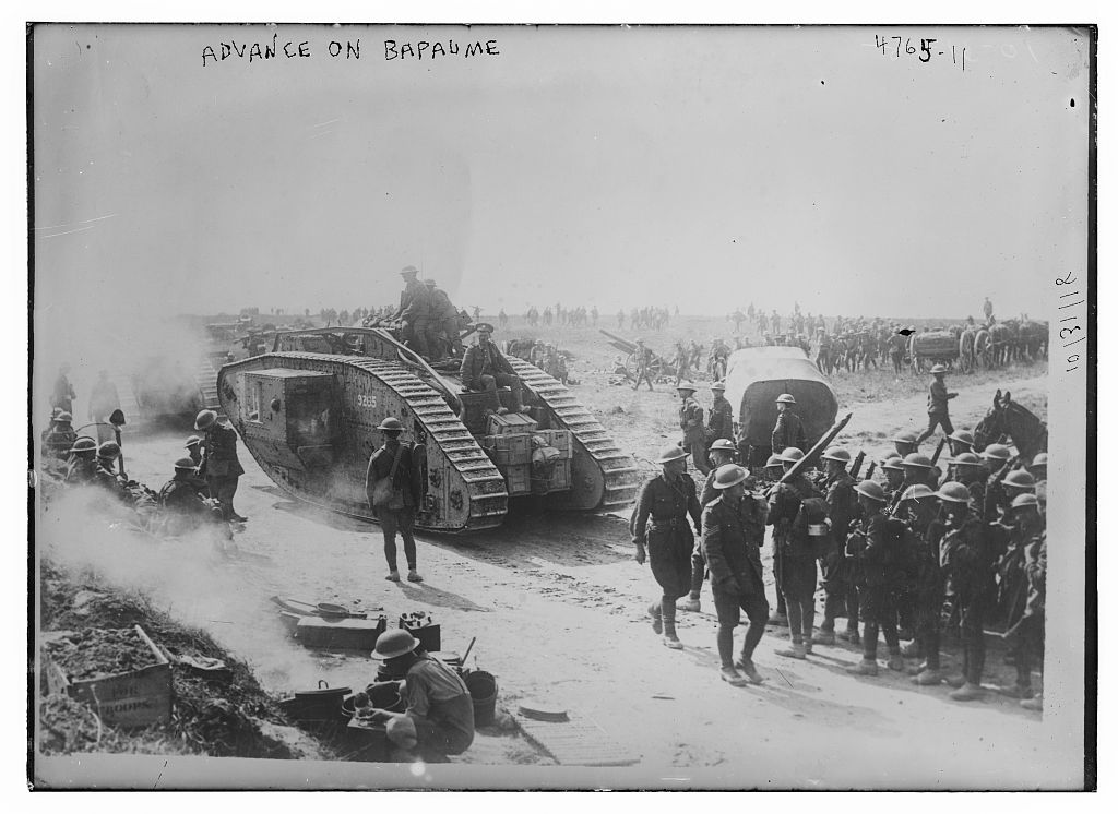 A British tank advances on Bapaume in August 1918