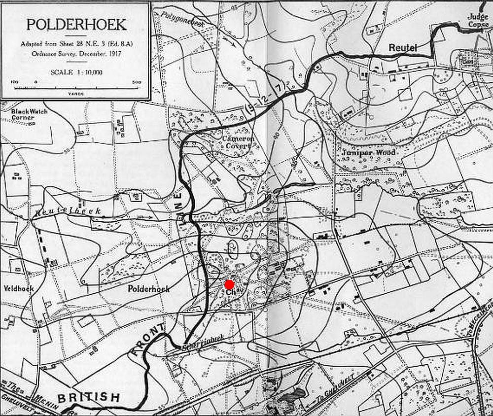 Polderhoek the Chateau marked with red dot.