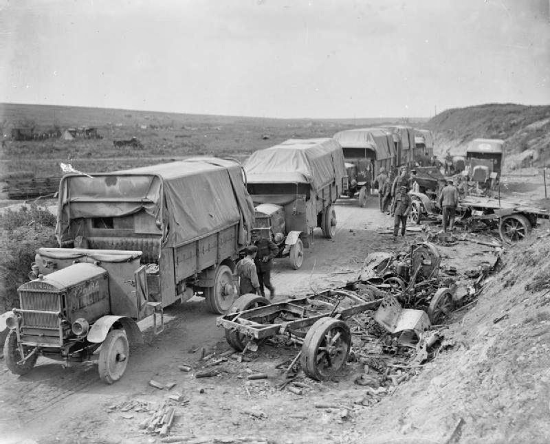 Maudslay_lorries_and_wrecked_German_transport